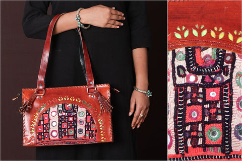 Handcrafted Kutch Leather Vintage Embroidery Hand Bag