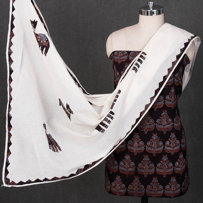 Special Ajrakh Block Print Cotton 2pc Suit Material with Applique Work Dupatta