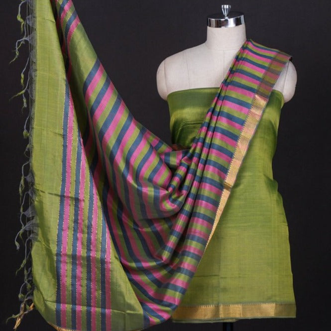 Original Mangalgiri Handloom Silk Cotton 3pc Suit Material with Zari Border