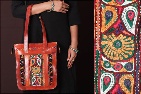Handcrafted Kutch Leather Mirror work Vintage Embroidery Hand Bag