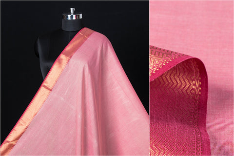 Special Maheshwari Silk Cotton Pure Handloom Zari Weave Fabric