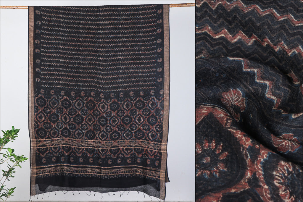 Ajrakh Hand Block Print Natural Dyed Linen x Tussar Silk Saree by Abdul Rauph