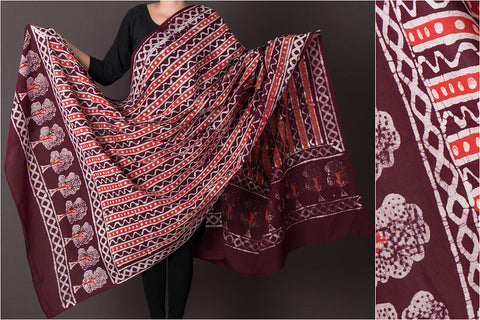Hand Batik Block Printed Cotton Dupatta