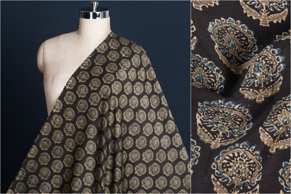 Ajrakh Hand Block Print Natural Dyed Chanderi Silk Fabric