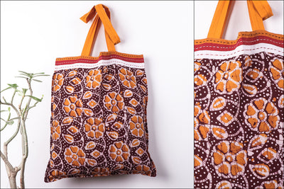 Batik Print Pure Cotton Fabric Shopping Bag