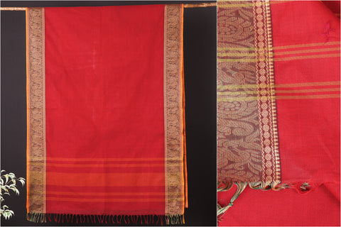 Traditional Kanchipuram Pure Cotton Thread Border Saree from Tamil Nadu