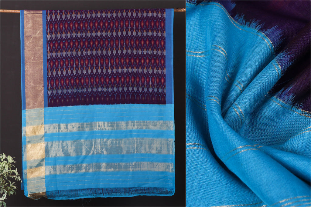 Pochampally Woven Double Ikat Traditional Handloom Mercerised Cotton Saree with Zari Border