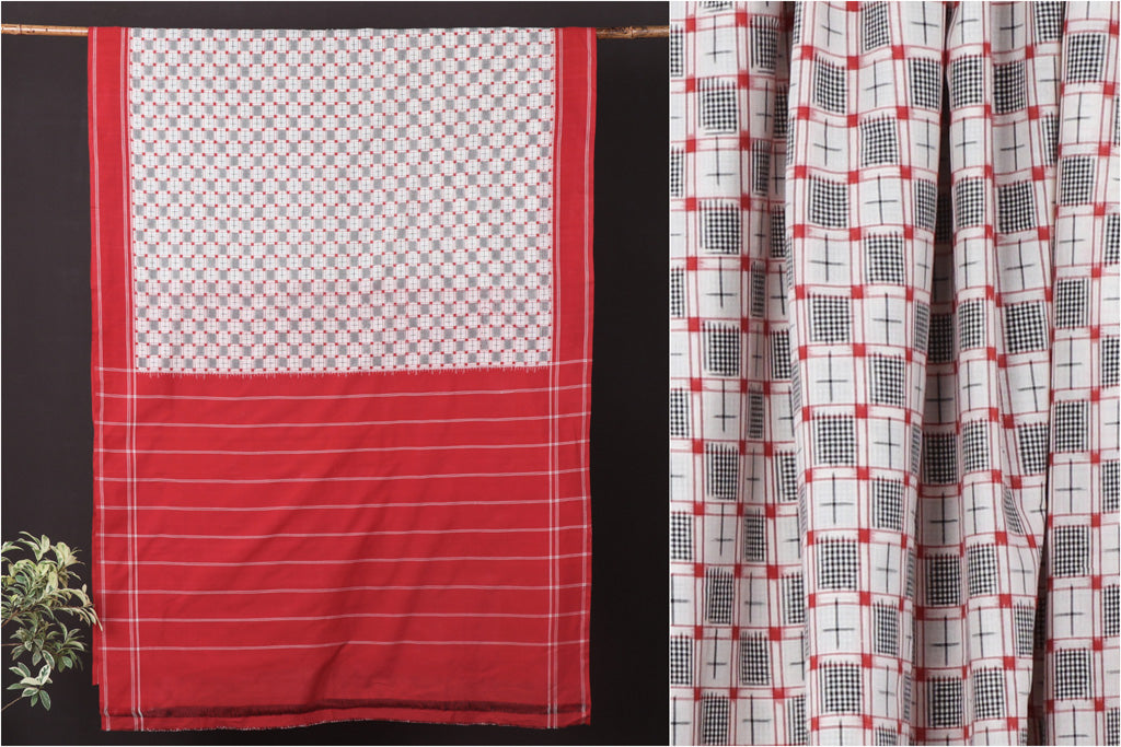Telia Rumal Pochampally Woven Double Ikat Natural Dyed Handloom Mercerised Cotton Saree