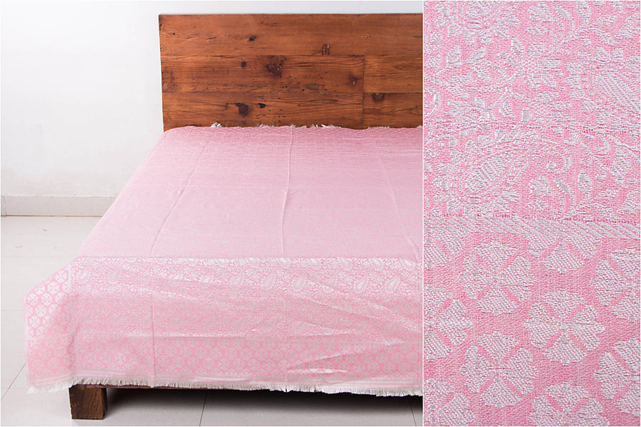 Himroo Handloom Jacquard Silk Cotton Single Bedcover