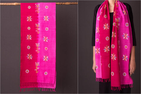 Traditional Rogan Art Painted Handloom Woolen Stole by Jabbar Khatri