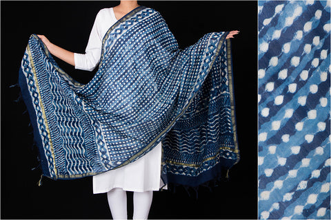 Chaubundi Block Print Chanderi Silk Dupatta with Zari