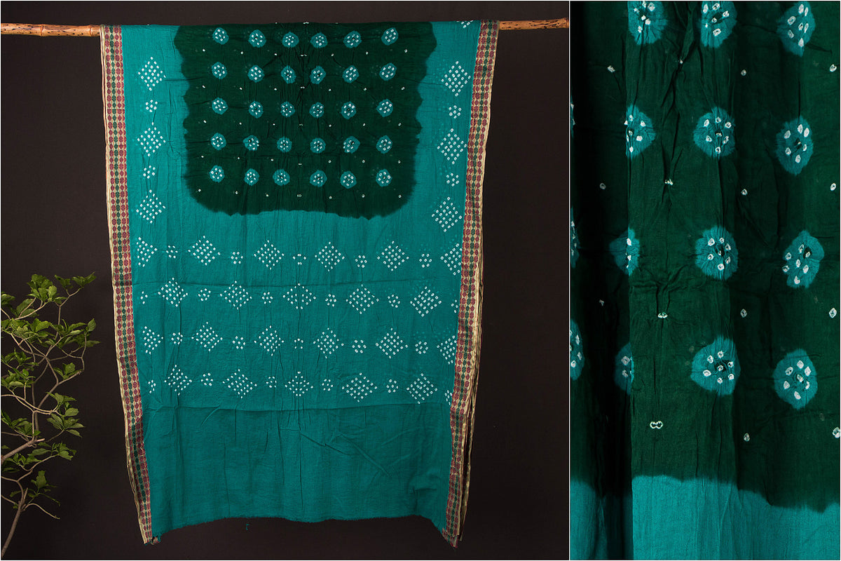 Kutchhi Bandhani Mul Cotton Saree with Blouse Piece