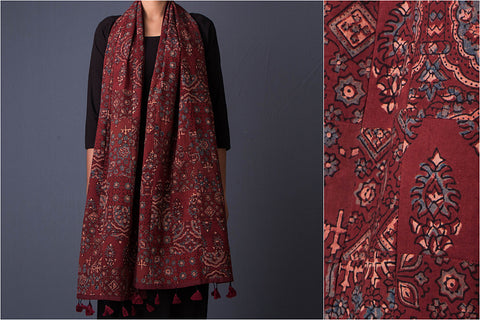 Tukdi Work Ajrakh Block Print Cotton Stole with Tassels