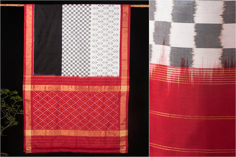 Hand Spun Ikkat Pure Silk Saree With Blouse