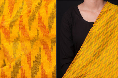 Raw Silk Pochampally Double Ikat Pure Handloom Fabric