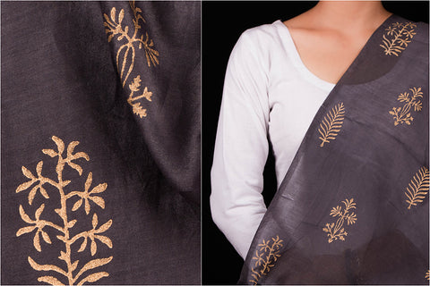Chanderi Silk Gold Hand Block Print Fabric