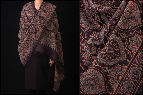 Ajrakh Woolen Shawl Hand Block Printed & Natural Dyed From Kutch