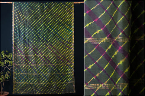 Original Leheria Tie Dye Printed Maheshwari Silk Handloom Saree with Blouse