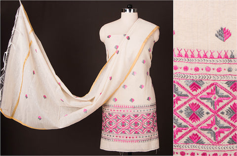 Phulkari Embroidered Cotton 3pc Dress Material