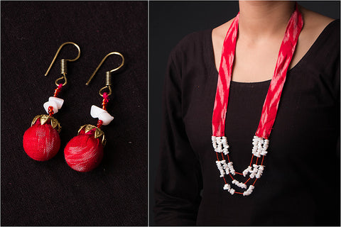 Ikat Cotton Fabric Sejal Bead Work Mala Necklace Set