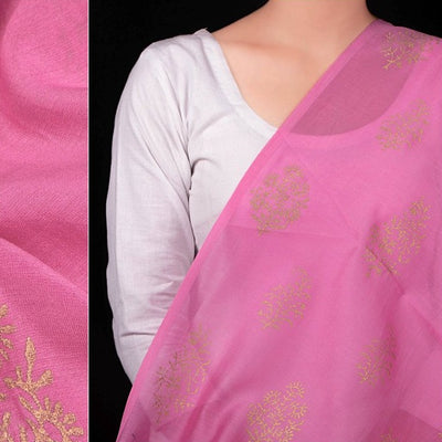 Mughal Buti Gold Chanderi Silk Hand Block Print Fabric