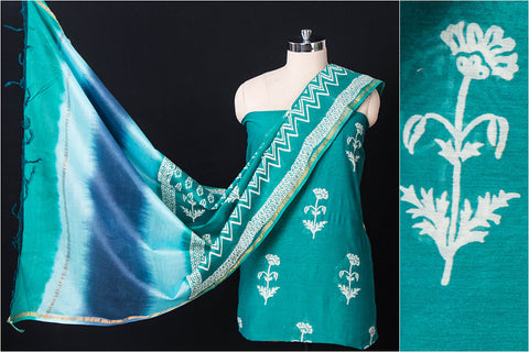 2pc Handloom Chanderi Silk Hand Block Print Suit Material Set with Block Print Ombre-Dyed Dupatta