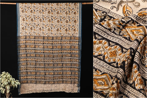 Mangalgiri Godavari Kalamkari Block Printed Handloom Cotton Saree with Thread Woven Border by DAMA