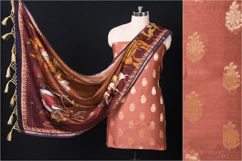2pc Handloom Chanderi Silk Zari Buti Suit Material Set with Digital Print SIlk Cotton Dupatta
