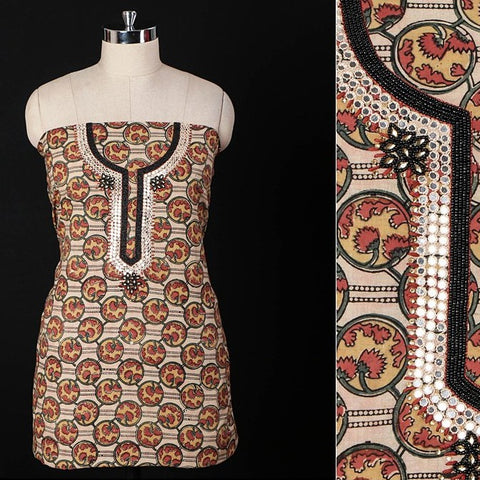 Hand Embroidered Bead Work Kalamkari Block Printed Cotton Kurta Material (2.55 metres)