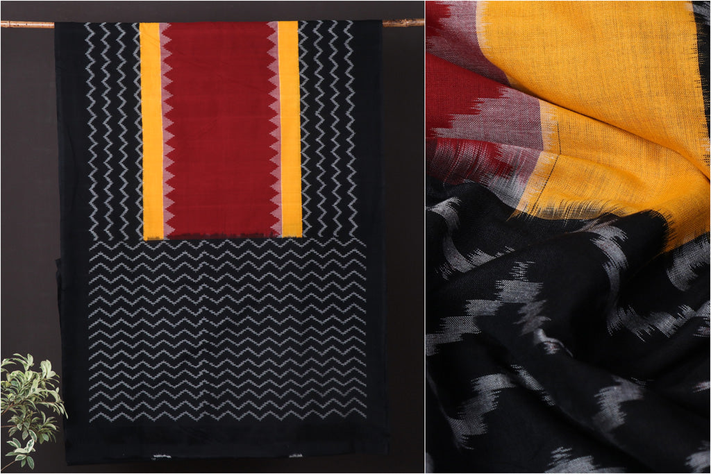 Pochampally Woven Double Ikat Traditional Handloom Mercerised Cotton Saree