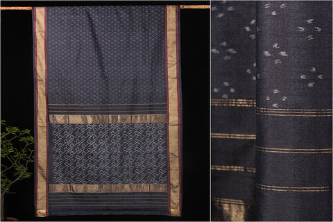 Hand Spun Ikkat Pure Tussar Silk Saree With Blouse