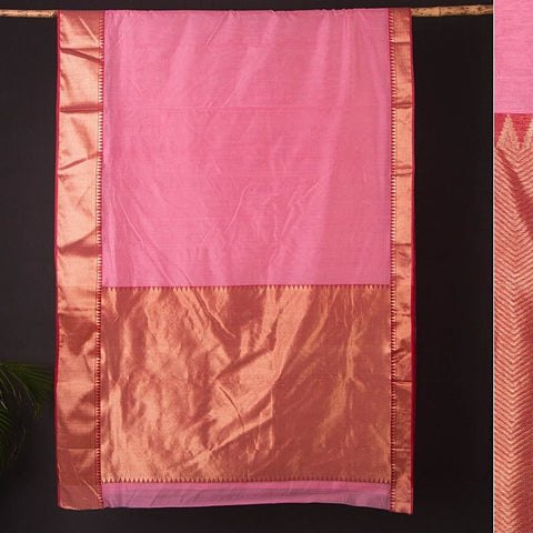 Chanderi Silk Zari Buti Handwoven Saree with Blouse Piece