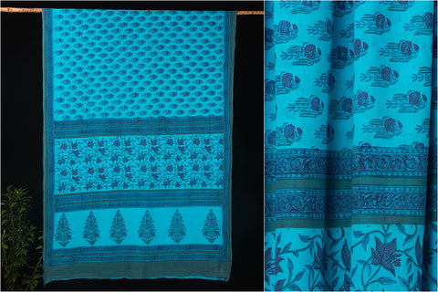 Sanganeri Block Print Cotton Mulmul Saree with Blouse