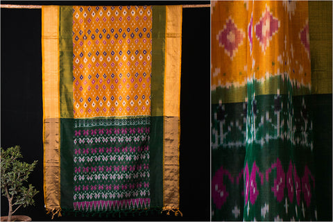 Uppada Pattu Handloom Pure Silk Pochampally Ikkat with Zari Saree