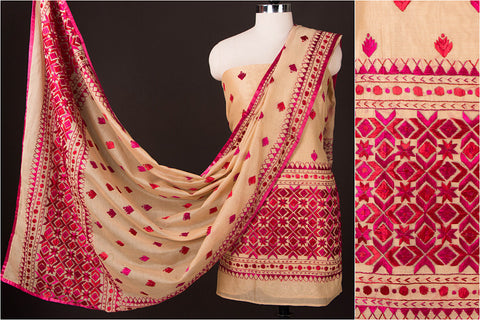 Phulkari Embroidered Silk Cotton 2pc Dress Material