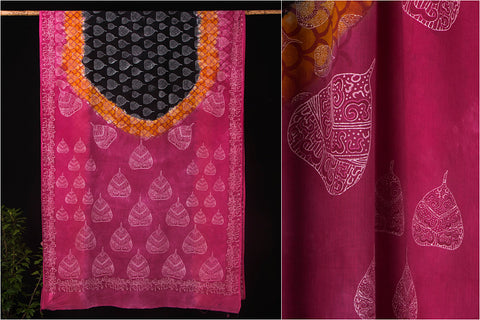 Block Print & Shibori Dyed Cotton Saree with Blouse
