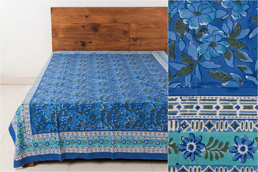 Sanganeri Hand Block Print Cotton Single Bed Cover (90 inches x 60 inches)