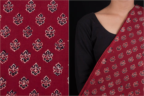 Barmer Ajrakh Hand Block Print Natural Dyed Cotton Fabric