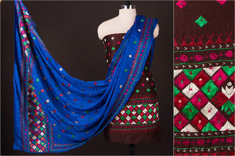 Phulkari Embroidered Silk Cotton 3pc Dress Material