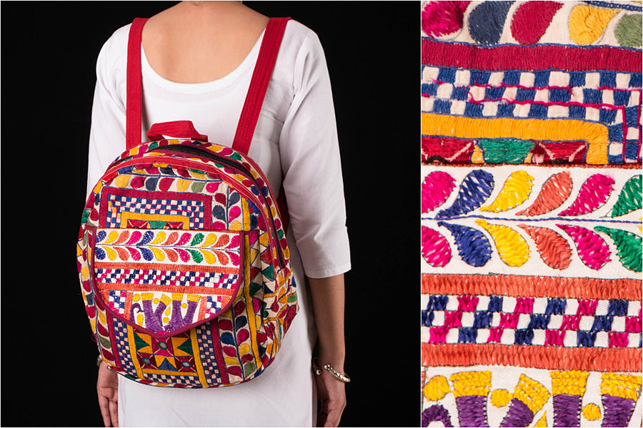 Kutchi Embroidery Mirror Work Pithu Bag