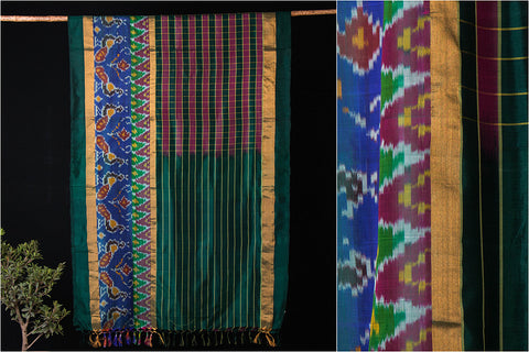 Uppada Pattu Handloom Pure Silk Zari Buti Checks With Ikkat Saree