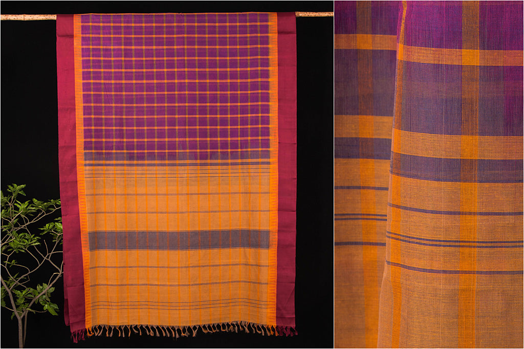 Kanchipuram Silk Temple Border Checks Handloom Mercerised Cotton Saree with Blouse