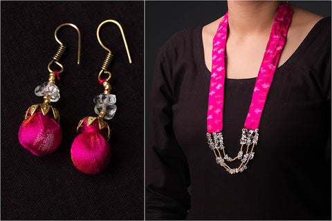 Ikat Silk Fabric Sejal Bead Work Mala Necklace Set