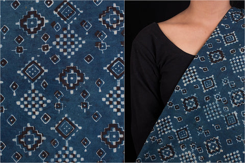 Akola Hand Block Print Natural Dyed Cotton Fabric