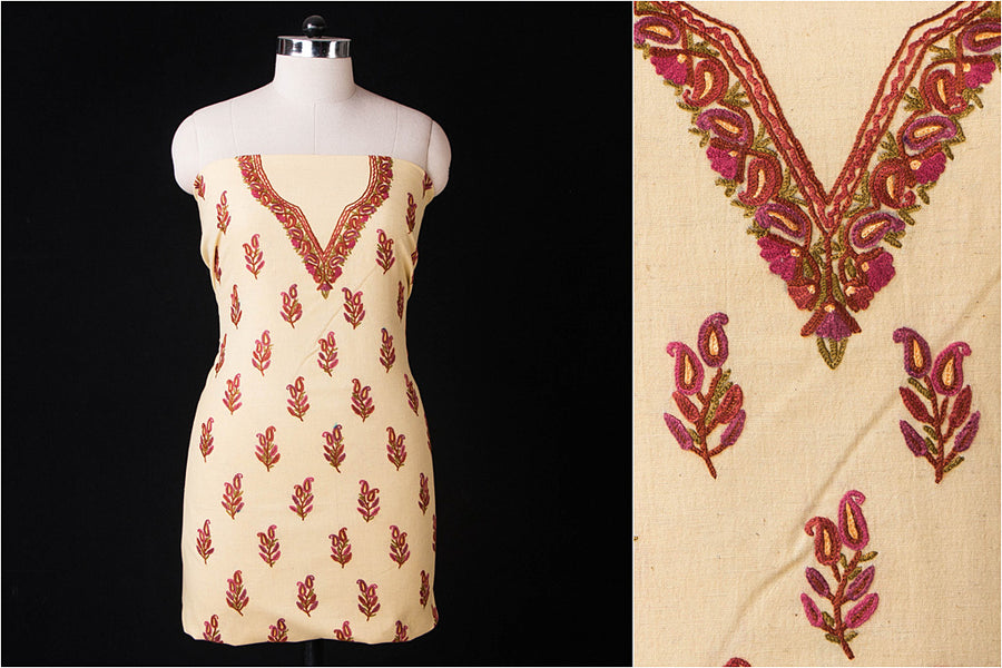 Kashida Embroidery Cotton Dress Material by Zahoor from Kashmir