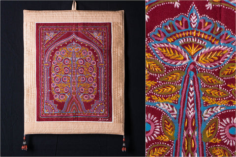 Traditional Rogan Art Painted Wall Hanging by Jabbar Khatri (36x14 inches)