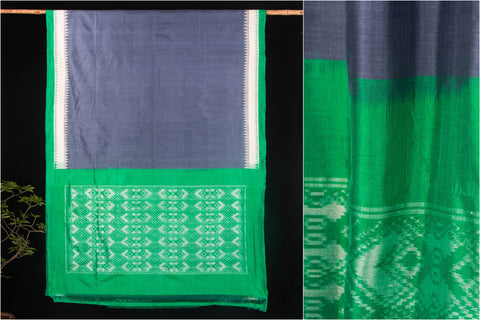 Hand Spun Ikkat Pure Tussar Silk Dobby Saree With Blouse