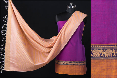2pc Dharwad Handloom Cotton Suit with Traditional Pure Banarasi Handwoven Silk Cotton Dupatta