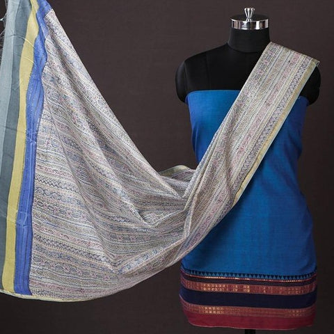 Dharwad Handloom Cotton 2pc Suit with Maheen Kaam Sanganari Signature Hand Block Print Chanderi Silk Dupatta