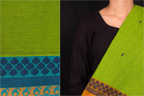 Kanchipuram Cotton Buti Fabrics with Thread Border
